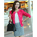 Women's Beige/Black/Pink Coat , Casual/Cute Long Sleeve Chiffon