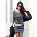 Women's Solid White/Black/Grey Dress,Bodycon Cowl Long Sleeve Gathered