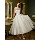 Lanting Princess Petite / Plus Sizes Wedding Dress - Ivory Ankle-length Jewel Tulle