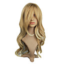 High Quality Synthetic Japanese Kanekalon Flaxen Long Wavy Synthetic Hair Capless Wig