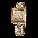 Frauen funkeln Diamanten Quadrat Zifferblatt Stahl Band Quarz-Armbanduhr