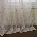 Country Two Panels Floral  Botanical Pink Living Room Sheer Curtains Shades