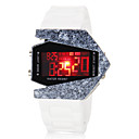 Men's Airplane Style Colorful LED Digital Ceramic Case White Silicone Wrist Watch