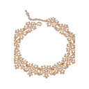 European and America Fashion Style (Florals) Plated Alloy Rhinestone All Match Statement Short Necklace (More Colors) (1 pc)