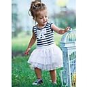 Azul listrado branco plissado vestido de princesa da menina