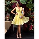 Homecoming Bridesmaid Dress Knee Length Lace A Line V Neck Dress (1241476)
