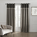(Two Panels) Retro Fancy Circle Brown Room Darkening Curtain