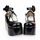 Black PU Leather Flower 9cm Wedge Sweet Lolita Shoes
