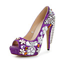 Women's Wedding Shoes Heels/Peep Toe/Round Toe Heels Wedding/Party & Evening Purple