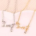 Women's Love Symbol Alloy Crystal Pearl Pendant Necklace