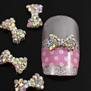 10pcs Crystal AB Rhinestones Beads Bow Tie 3D Alloy Nail Art Decoration