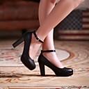 Calçados Femininos - Saltos - Arrendondado - Salto Grosso - Preto / Azul / Rosa / Roxo / Branco - Courino - Casual