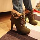 부츠 - 드레스 - 여성의 신발 - 둥근 앞코 - 인조 가죽 - 스틸레토 굽 - 블랙 / 브라운 / 그린 / 그레이