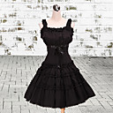 High-waisted Style Sleeveless Knee-length Black Cotton Classic Lolita Dress