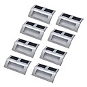 8pcs 3 LED Solar Powered Stairway Light Lamp Pathway Step Wall Mounted Stairs Stainless steel