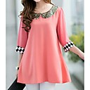 Women's Plus Sizes Cute Pan Collar Sequin Loose Blouse