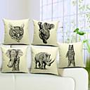 set om 5 snygga coola djur bomull / linne dekorativa örngott