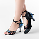 Non Customizable Women's Dance Shoes Latin/Ballroom Satin Chunky Heel Blue/Purple/White
