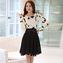 Women's  Korean Fashion   Floral Print Two Piece Splicing Long Sleeve Dress