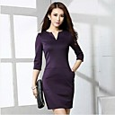 Women's V Neck Mini Dress , Cotton Blends Black/Purple/Red Casual/Plus Sizes