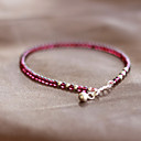 Fashion Wine Garnet Stealing Silver Strand Bracelet(1 Pc)