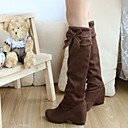 Women's Shoes Round Toe Wedge Heel Knee High Boots with Bowknot More Colors available
