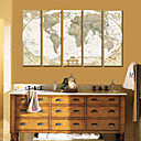 Stretched Canvas Art  World Map Set of 5