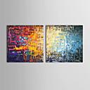 oljemalerier sett med 2 moderne abstrakt farge murstein håndmalte lerret klar til å henge