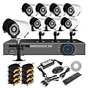 8CH 960H Home Security System DVR Kit (8pcs 700TVL IR Cut Outdoor Waterproof Camera, HDMI, USB 3G Wifi)