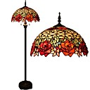 Tiffany Floor Lamp With Stained Glass and Glass Beads