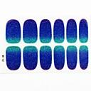 12PCS 풀 사이즈 커버 거짓 네일 아트 스티커 팁 네일 아트 장식에 파란색 별이 빛나는 반짝이를 래핑 데칼
