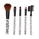 5PCS Mini White Leopard Handle Makeup Brush Sets(Black)