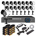 16CH H.264 Home Security System DVR Kit (16pc 700TVL IR-cut Outdoor Waterproof Camera, HDMI, USB 3G Wifi)