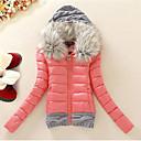 Women's Fur Hooded Short Design Down Jacket Padded Large Fur Collar Plus Size Winter Coat Fashion Outerwear