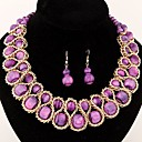 European Style Fashion Candy Colored Beads Woven Metal Exaggeration Temperament Necklace Earrings Set(More Colors)