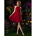 Lanting Knee-length Chiffon / Lace Bridesmaid Dress - Burgundy Plus Sizes / Petite A-line Jewel