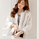 Women's Round Collar Stripes 3/4 Sleeve Casual Party White Short Faux Fur Coat