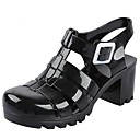 Women's Shoes Jelly Chunky Heel Rubber Sandals with Buckle Shoes More Color Available