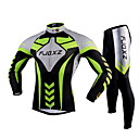 FJQXZ Men's Cycling Jersey + Tights Long Sleeve Spring Autumn Polyester Mesh Jersey Lycra Cushion Green+Black Breathable