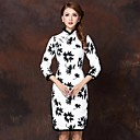 Women's Floral White Dress , Vintage Stand ¾ Sleeve