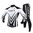 FJQXZ Men's Winter Autumn Polyester Mesh Jersey Lycra Cushion Tights White+Black Long Sleeves Breathable Cycling Suit