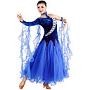 Ballroom Dancewear Women's Tulle Velvet Ballroom Modern Dance Dress Including Dress And Collar Gaiter(More Colors)