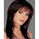 Capless Mix Color Long Length High Quality Natural  Straight Hair Synthetic Wig with  Side Bang