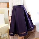 Women's Casual Midi Skirts , Organza/Satin Micro-elastic
