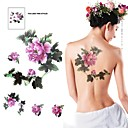 1Pc Waterproof Multicolored Two Large Flower  Pattern Tattoo Sticker