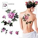 Autocollant multicolore étanche 1pc deux grandes fleurs motif de tatouage