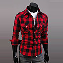 Men's Long Sleeve Shirt , Cotton Casual Plaids & Checks