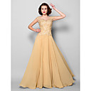 A-line Plus Sizes / Petite Mother of the Bride Dress - Gold Sweep/Brush Train Sleeveless Chiffon / Lace