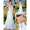 Lanting Sheath/Column Plus Sizes Wedding Dress - Ivory Court Train V-neck Chiffon