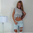 Women's Sexy Solid Color Bow Short T-shirt